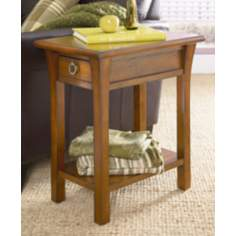 Rectangular 1-Drawer Oak Chairside Table