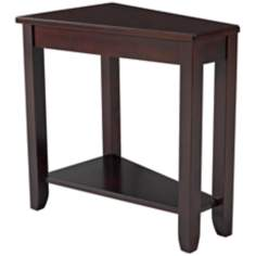 Wedge 1-Shelf Chairside Espresso Table