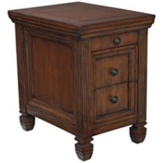 Chairside 2-Drawer Oak Table