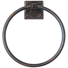 "Craftsman 7 3/4"" High Venetian Bronze Towel Ring"