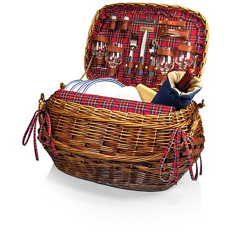 Highlander Red Tartan Picnic Basket
