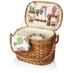 Romance Nouveau Grape Burgundy Willow Picnic Basket