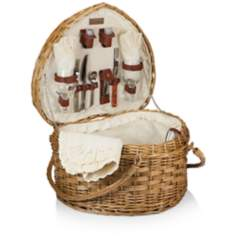 Heart Antique White Woven Willow Picnic Basket