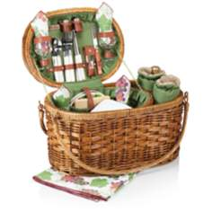 Merlot Deluxe Pine Green Wine Lovers Picnic Basket
