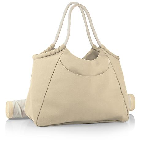 Cabo Beige and Tan Beach Tote with Bamboo Mat