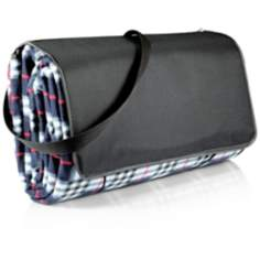 XL Black Plaid Outdoor Blanket and Tote