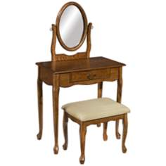 Woodland Oak Vanity, Mirror and Bench