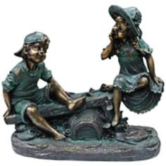 "Girl and Boy on Teeter Totter 14"" High Outdoor Statue"