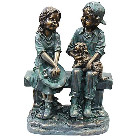 "Girl and Boy on Bench with Puppy 16"" High Outdoor Statue"