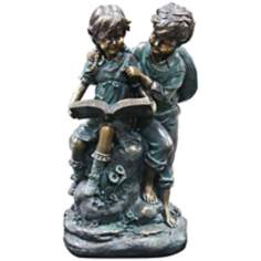 "Girl and Boy Reading 16"" High Outdoor Statue"
