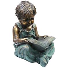 "Boy Reading 19"" High Outdoor Statue"