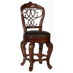 "Hillsdale Burrell 26"" Brown Cherry Swivel Counter Stool"