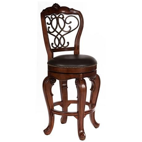 "Hillsdale Burrell 30"" Brown Cherry Swivel Bar Stool"
