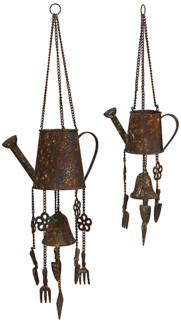 Set of 2 Iron Watering Can Wind Chimes (2M810)