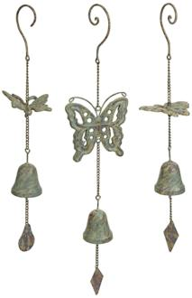 Set of 3 Nalia Iron Butterfly Wind Chimes (2M811)