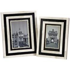 Set of 2 Bella White Bone Inlay Photo Frames