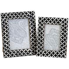 Set of 2 Lizzie White and Black Bone Photo Frames