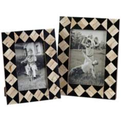 Set of 2 Lanta Bone Inlay Black and White Photo Frames