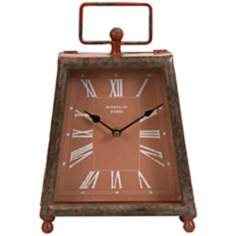 Benton Retro Brick Red Wrought Iron Clock