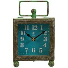 Fritch Retro Wrought Iron Turquoise Desk Clock
