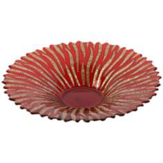 Ruby Red and Gold Glass Bowl