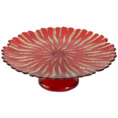 Ruby Red and Gold Glass Cake Plate