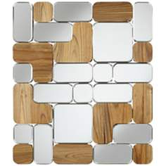 "Joyce 34 1/2"" High Mirror and Wood Panel Wall Art"