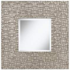 "Arona Silver Lines 24"" Square Decorative Wall Mirror"