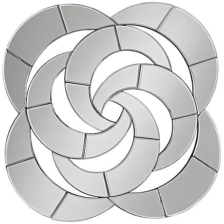 "Spiral Mirror 30 3/4"" Square Contemporary Wall Art"