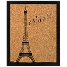 "Paris Eiffel Silkscreened 18"" Wide Corkboard"