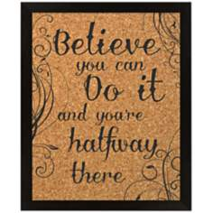 "Believe Silkscreened 18"" Wide Corkboard"