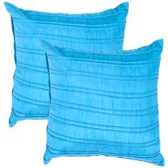 "Textural Turquoise 18"" Square Throw Pillow"