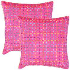 "Textural Pink Multi 18"" Square Throw Pillow"