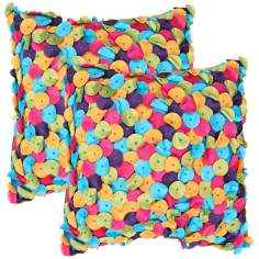 "Textural Turquoise Multi 18"" Square Throw Pillow"