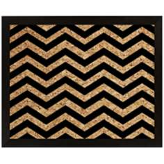 "Black Chevron Silkscreened 22"" Wide Corkboard"