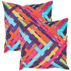 "Textural Ribbons Multi 18"" Square Throw Pillow"