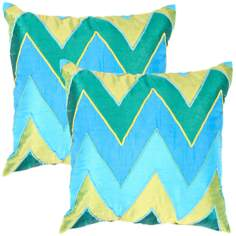 "Textural Jade Chevron 18"" Square Throw Pillow"