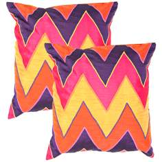 "Textural Jasper Chevron 18"" Square Throw Pillow"