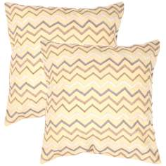 "Tribal Textural Citrine Zigzag 18"" Square Throw Pillow"