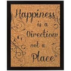 "Happiness Silkscreened 22"" Wide Corkboard"