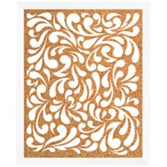"Floral Pattern Silkscreened 18"" Wide Corkboard"