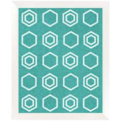 "White Geometric Pattern Silkscreened 22"" Wide Corkboard"