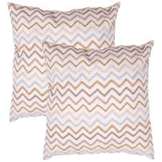 "Tribal Textural Flax Zigzag 18"" Square Throw Pillow"