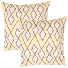 "Tribal Textural Citrine Diamond 18"" Square Throw Pillow"