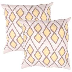 "Tribal Textural Flax Diamond 18"" Square Throw Pillow"