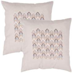 "Tribal Textural Flax Zigzag 18"" Cotton Throw Pillow"