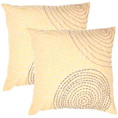 "Tribal Textural Citrine Swirl 18"" Square Throw Pillow"