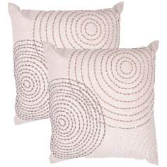 "Tribal Textural Flax Swirl 18"" Square Throw Pillow"
