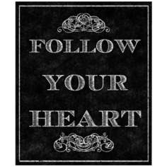 "Follow Your Heart Vintage 20"" High Canvas Wall Art"