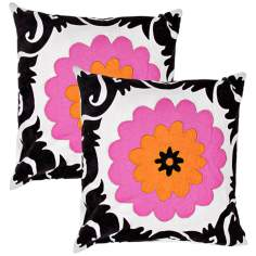 "Suzani Textural Fuchsia 18"" Square Throw Pillow"